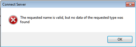 Error: The requested name is valid, but no data of the requested